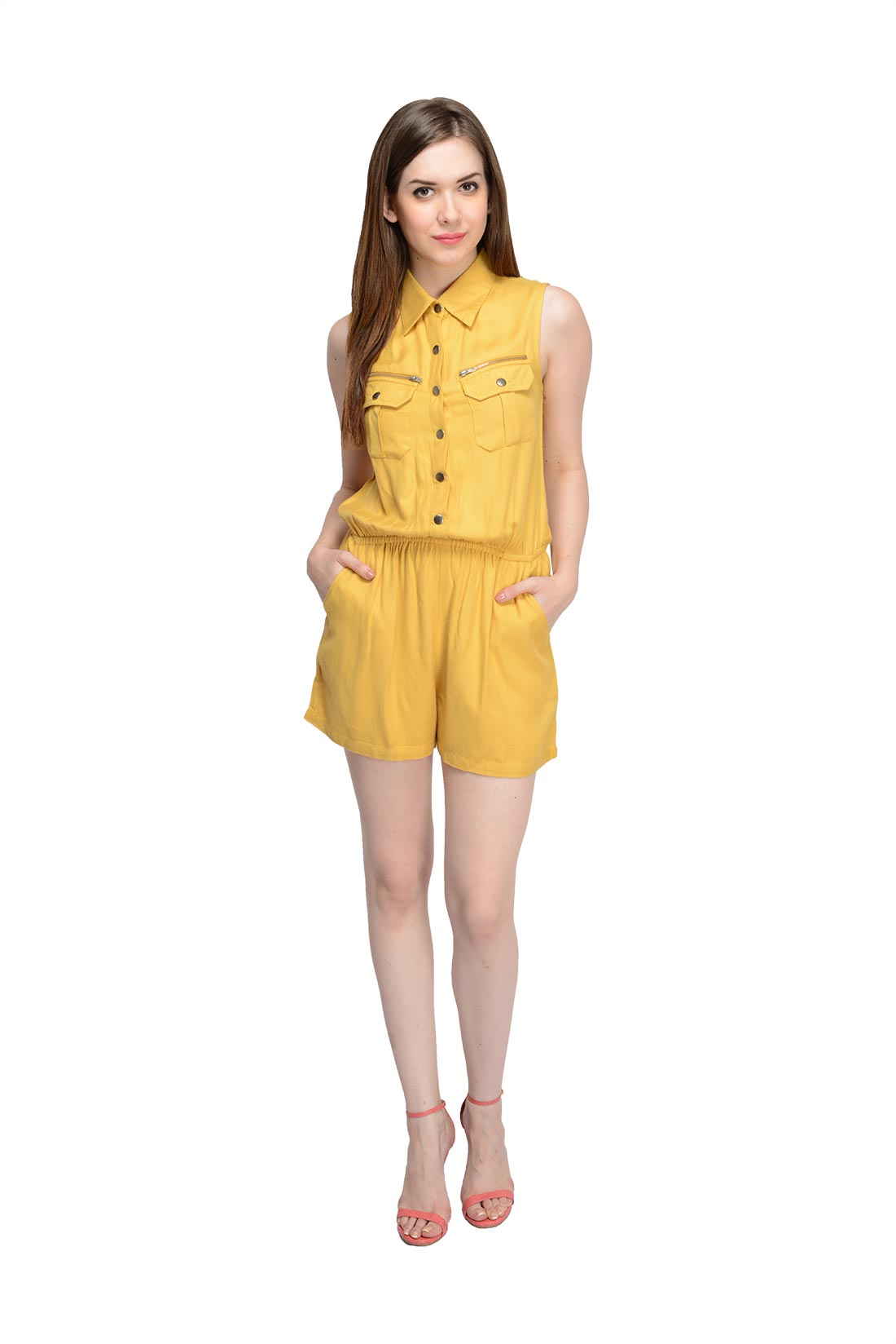 Designer Yellow Short Jumpsuit For Women By Shipgig